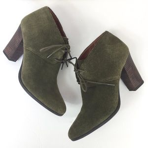 Franco Sarto Olive Green Suede Healed Bootie 10